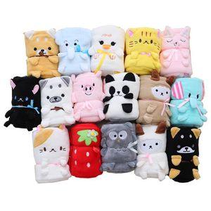 Multi style Baby's Cartoon Animal Coral Blanket Bear Owl Elephant Totoro plush multifunction cushion blanket 75x95cm Air conditioning blanke