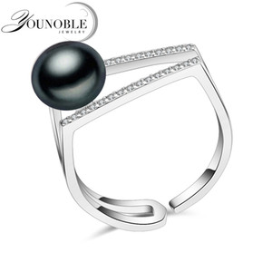 Wholesale 100 real freshwater black natural pearl ring for women wedding sterling silver adjustable ring female