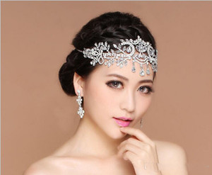 Wholesale Free Shpping Bling Wedding Jewelrys Accessories Bridal Tiaras Hairgrips Crystal Rhinestone Headpieces Women Forehead Hair Crowns Headbands