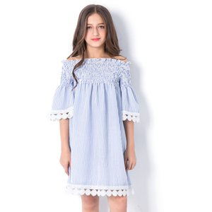 Wholesale Vieeoease Big Girls Dress Flower Kids Clothing Autumn Fashion Long Sleeve Lace Embroidery Princess Party Dress EE