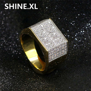 Wholesale Hip Hop Rock Micro Pave CZ Stone Iced Out Bling Square Ring Copper Gold Rings for Men Jewelry Best Gift Ideas