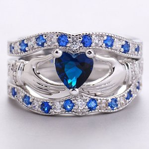 Silver Three Layers Blue Crystal Heart Wedding Rings Fashion Design Big Cubic Zircon Engagement Ring For Women on Sale