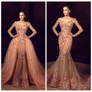 Wholesale 2018 Beautiful Floral Applique Celebrity Dresses Sheer Long Sleeves Beaded Mermaid Red Carpet Prom Dress Sexy Tulle Detachable Train