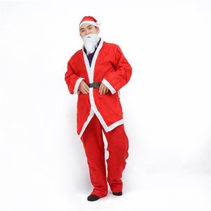 Wholesale Santa Set Costumes Men Clothing Christmas Performance Carnival Party Cosplay Hats Clothes Trousers Belt False Beard Red Suit dz hh