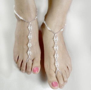 Wholesale 6Pcs Handmade Beaded Pearl Jokerelastic Forceanklet Pearl Barefoot Sandal Anklet Bracelet Foot Chain Bridal Jewelry Wedding Anklets