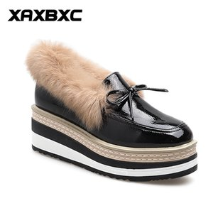 XAXBXC 2019 Winter Autumn Leather Short Fur High Heels Pumps Platform Wedges Square Toe Women Casual Lady Mujer Femme Shoes