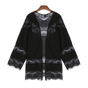 Pregnant Women Blouses Shirts 2018 Summer Boho  Lace Long Sleeve Casual Loose Solid Tops Plus Size Beach Cardigan Outwear