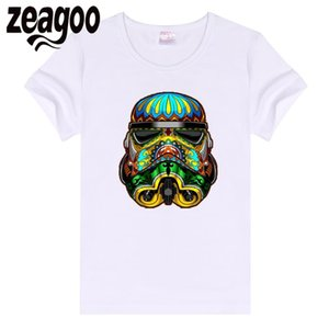 zeagoo vader Casual Basic Plain Crew Neck Slim Fit Soft Short Sleeve T-Shirt White tattoo darth Women