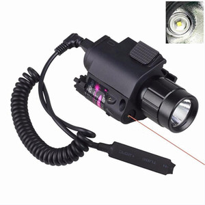 Hot Sale LED Light + Red Laser Sight 2 in 1 Airsoft Hunting M6 CREE LED Torch Tactical 200LM Laser Flashlight Tail Switch