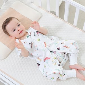 Wholesale 0 year70 bamboo cotton Newborn Sleeveless Baby Sleeping Bag Cartoon Bear muslin Kids Warm Sleeping Bag Printing Pattern S2