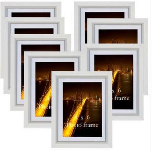 Wholesale Giftgarden White Photo Frame Set Simple Art Pattern Wall Picture Frames Fashion Living Room Decal Wooden Picture Frames Set of