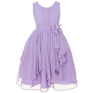 Wholesale 12 Colors Girls Sleeveless Chiffon Dress Fashion Casual Irregular Ruffle Prom Dresses Age for Years