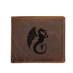 Custom Engraved Dragon Beast Men Short Wallet with Coin Pocket FRID Card Holders Purse Luxury Real Leather Vintage Men Wallet