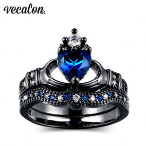 Wholesale claddagh rings resale online - Vecalon Claddagh Women Engagement Wedding Band Ring Blue stone Zircon Cz KT Black Gold Filled Birthstone Bridal sets Ring