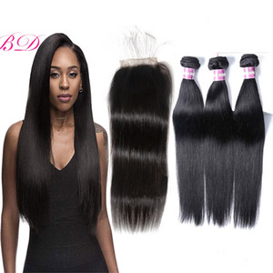 BD Indian Virgin Human Hair Straight Unprocessed Remy Hair Malaysian Brazilian 3 Bundles With Lace Closure With a Gift