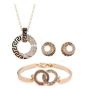 Luxury 18K Rose Gold Plated Geometric Diamond Crystal Necklace Bracelet Earrings for Women Made With SWA Elements Wedding Jewelry Sets on Sale
