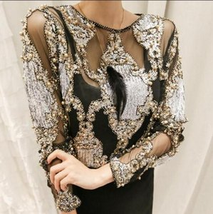 Wholesale Brand famous women crystal Blouses sexy lace beads autumn winter top and shirts blusa femme camisa
