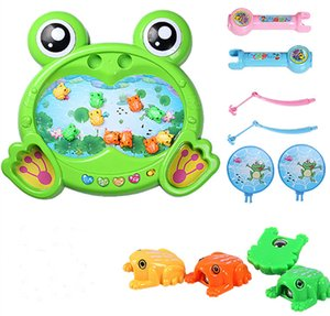 Wholesale 2017 Children s double fishing toy pool set year old baby kitten electric fishing toys magnetic swimming fish