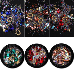 Wholesale colorful gemstones resale online - New Mixed Nail Design Colorful Micro Beads and Gemstone Circle D Nail Art Glitter Crystal AB Non Hotfix Diamond Rhinestones