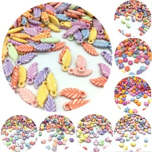 Wholesale 100pcs New Many Shapes Acrylic Beads DIY Handmade Bracelet Jewelry Accessories Making Color Random Delivery