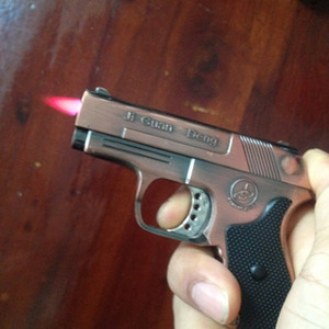 Creative Gun shape Cigarette Lighter 9mm jet torch cigar grey silver copper metal Pistol Lighter windproof Refillable Butane Gas with laser
