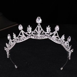 Crystal crown bridal headwear 2018 new alloy crown ornament, delicate foliage. on Sale