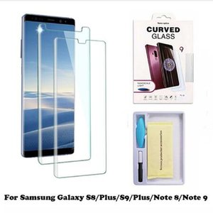 Wholesale Full UV Tempered Glass for Galaxy NOTE S9 S8 Plus Case Glass Liquid Dispersion Tech with UV Light Protector