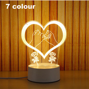 3D Small Night-light Small 2018 NEW Small Desk Lamp Gift Lamp USB Touch Remote Control Originality Cozy Bedside Lamp Love 7 color