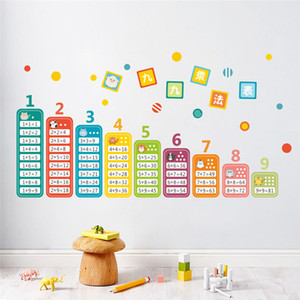 Wholesale Cartoon Children Multiplication Table Math Toy Wall Stickers For Kids Rooms Baby learn Educational School mural decals