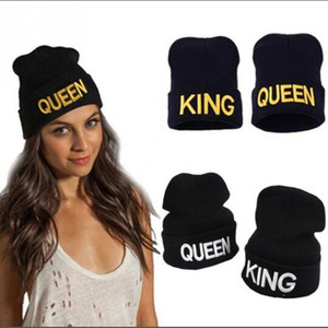 Wholesale king garden resale online - Winter Warm Embroidery Letters Queen KING Stretchy Knitted Beanies Hats Unisex Lover Wool Hip Hop Skullies Caps