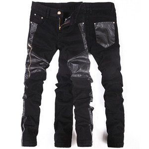Wholesale Korean New fashion cool Punk pants men with leather zippers Black Skinny tight Plus size Rock trousers