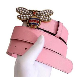 Hot 2018 High Quality Brand Designer Belt Luxury Fashion Belts For Women Alloy Gold Genuine Leather Bee Belt 90-110cm Free Shipping