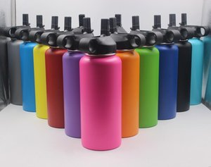 Wholesale 13 Colors oz oz oz Water Bottle Vacuum Insulated Stainless Steel Sport Bottle Wide Mouth Big Capacity Bottle with Straws lids