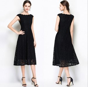 Wholesale 2019 Sleeveless Lace Dresses New Black Long Section Wave Collar Fashion A Word Skirt White Lace Formal Evening Dresses HY384