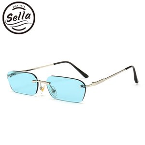 Wholesale Sella Trending Women Men Small Narrow Tint Lens Sunglasses Fashion Rimless Rectangle Pink Blue Yellow Lens Square Eyewear Shade