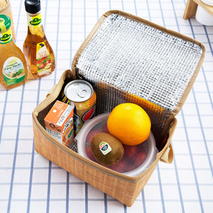 22X14X12cm Imitation Rattan Picnic Bag Portable Insulated Thermal Cooler Lunch Box Portable Outdoors Picnic Bags