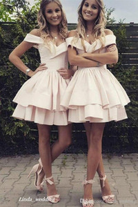 2019 Cheap Short Pale Pink Homecoming Dress Summer A Line Juniors Sweet 15 Graduation Cocktail Party Dress Plus Size Custom Made