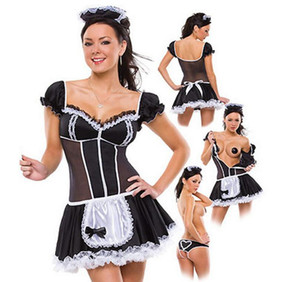 Wholesale plus size XL Servant Women Cosplay Black And White Party Halloween Short Sleeve Sexy dress French Maid Costumes Drop shipping Y1892611