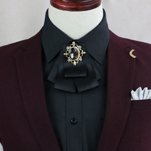 wholesale Bows Tie Bowknot Brooch Cloth Art Flower Rhinestone Ribbon Pins And Brooches Dresses Suits Badge Cravat Men Groomsmen