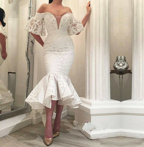 Wholesale High Low Sexy Lace Party Dresses Off The Shoulder Half Sleeves Sheer Neck Cheap prom Dress Zipper Back Mermaid Evening Gowns Sleeves
