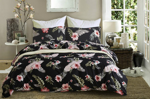 Wholesale animal bedding sets for adults resale online - New designed bedding sets dovet sets tropical plant printed pattern dovet cover and pillow cases for hotel