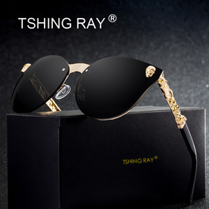 Wholesale RAY Fashion Gothic Skull Rimless Cat Eye Sunglasses Women Men Vintage Cameo Legs Oversized Cateye Sun Glasses For Female