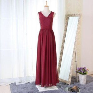 Wholesale Designer Burgundy Chiffon Bridesmaid Dresses Floor Length Simple V Neck Sleeveless Maid of Honor Gown Ruched Wedding Guest Dress BM0219