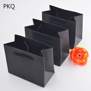 Wholesale 20pcs cm Small Paper Bag For Jewelry Gift Packing Black White Pink Kraft Paper Gift Bags With Handle Wedding Candy Bags