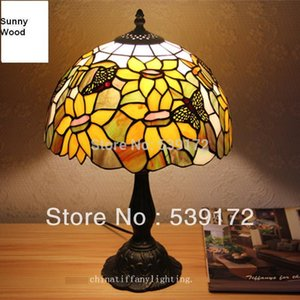 Free Shipping 12Inch Shell lamp, tiffany lamp,Free 5W E27 LED Bulb for promotion, table Lamp for living room 90-260VAC TEN-T-069 on Sale