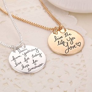 Wholesale Jewelry simple long necklace Learn From Yesterday Live For Today Hope For Tomorrow necklace Gold silver alphabet pendant