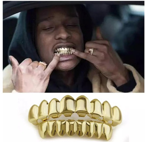 Wholesale Gold Plated Hip Hop Teeth Grillz Top Bottom Grill Set Party Cosplay Vampire Grills Sets Hot