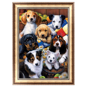 Wholesale DIY D Mosaic Diamond Painting Kits Cross Stitch Living Room Puppy Family Animal Circular Drill Bedroom Home Decor lx bb