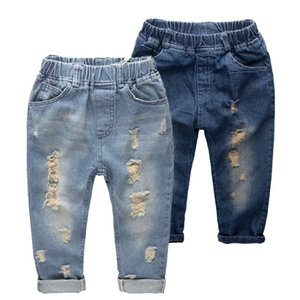 Wholesale INS kids denim pants Fashion children Hole jeans baby boys girls Trousers slim casual pants C4582