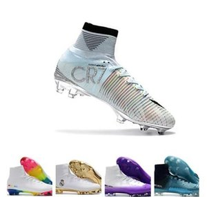 Wholesale Mens New CR7 Mercurial x EA sport Superfly V FG Soccer Shoes Magista Obra FG Soccer Cleats Women Football Boots Youth Cristiano Ronaldo